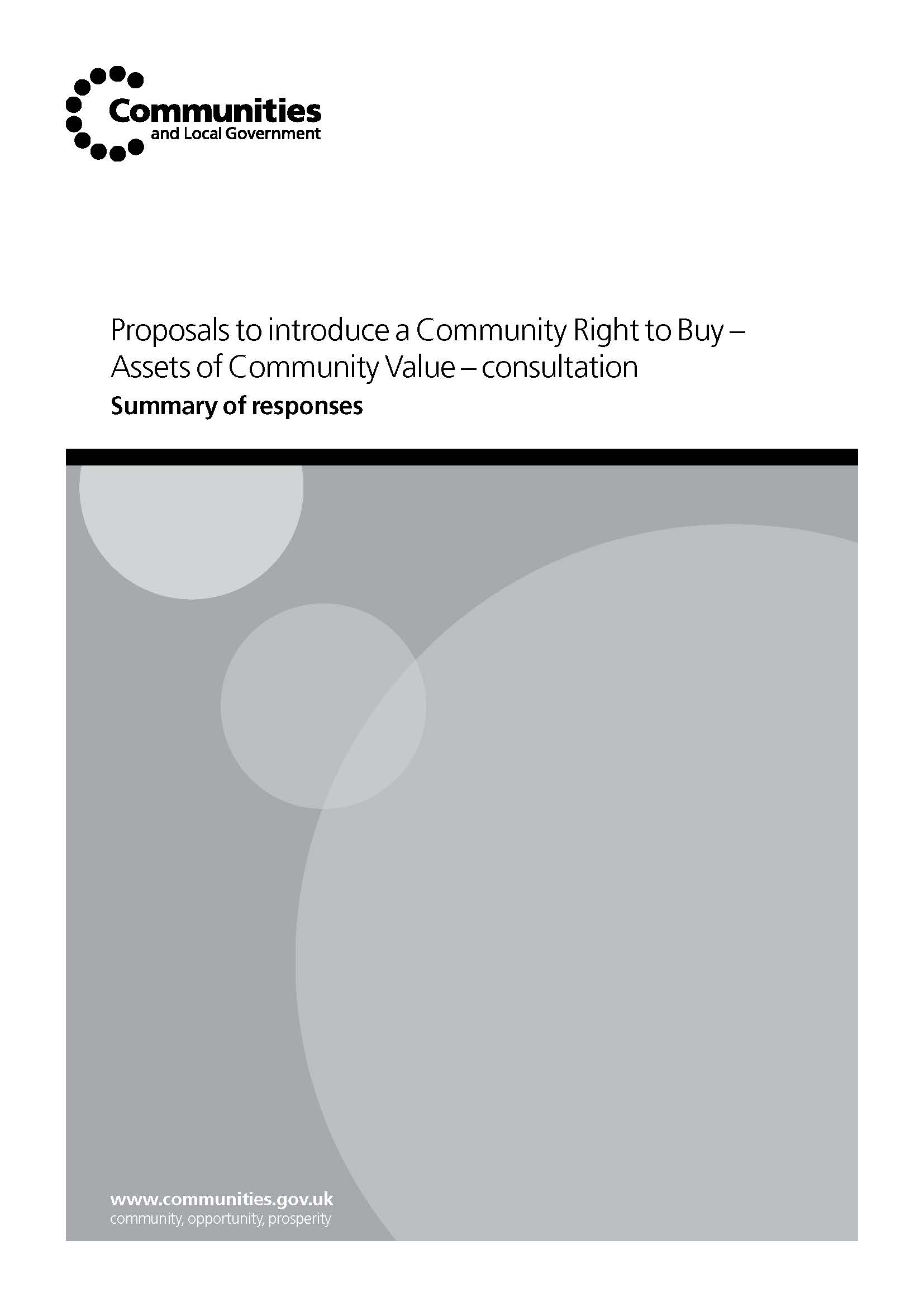 Proposals to introduce a Community Right to Buy – Assets of Community Value – consultation (Summary of responses)