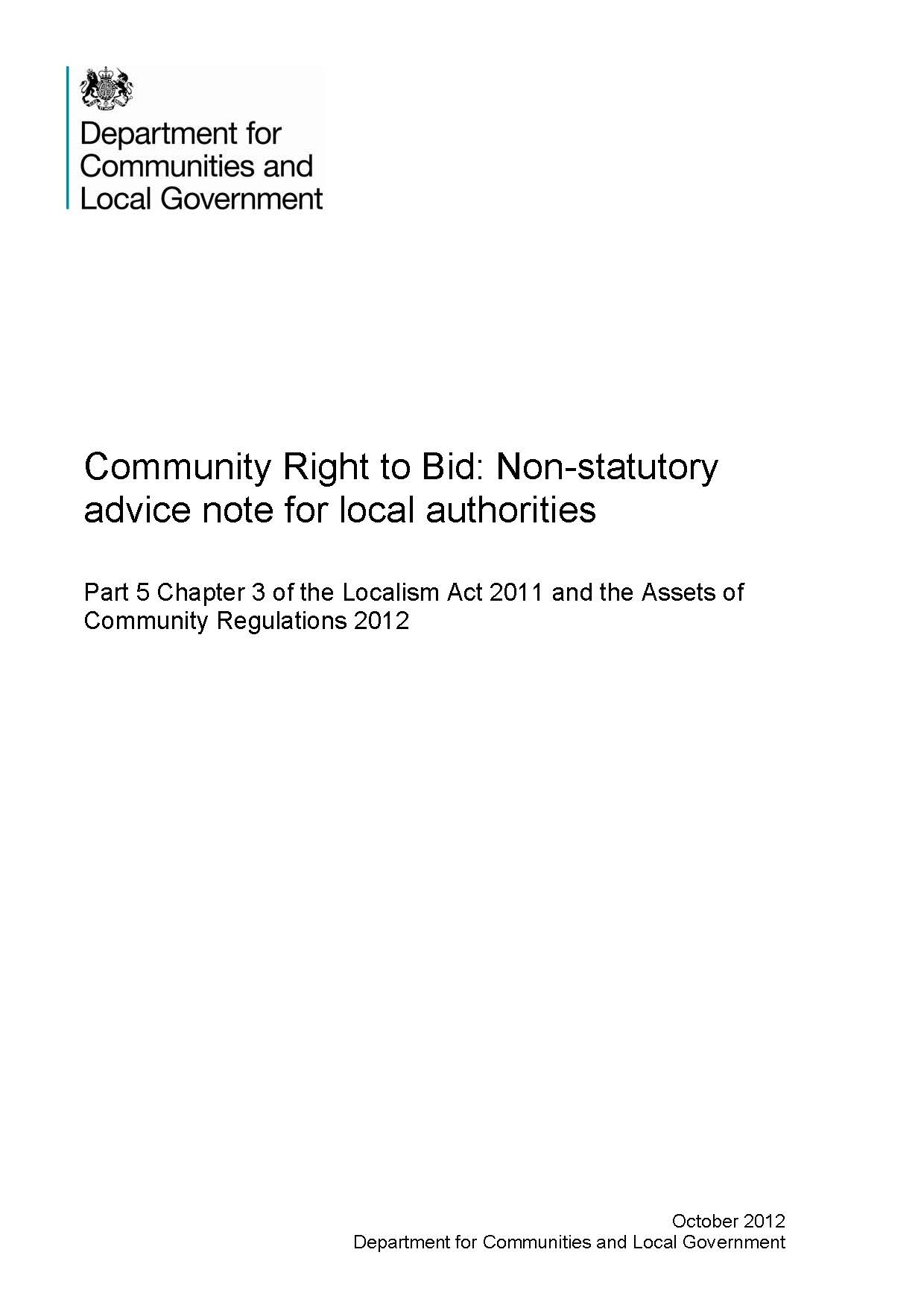 Community Right to Bid: Non-statutory  advice note for local authorities
