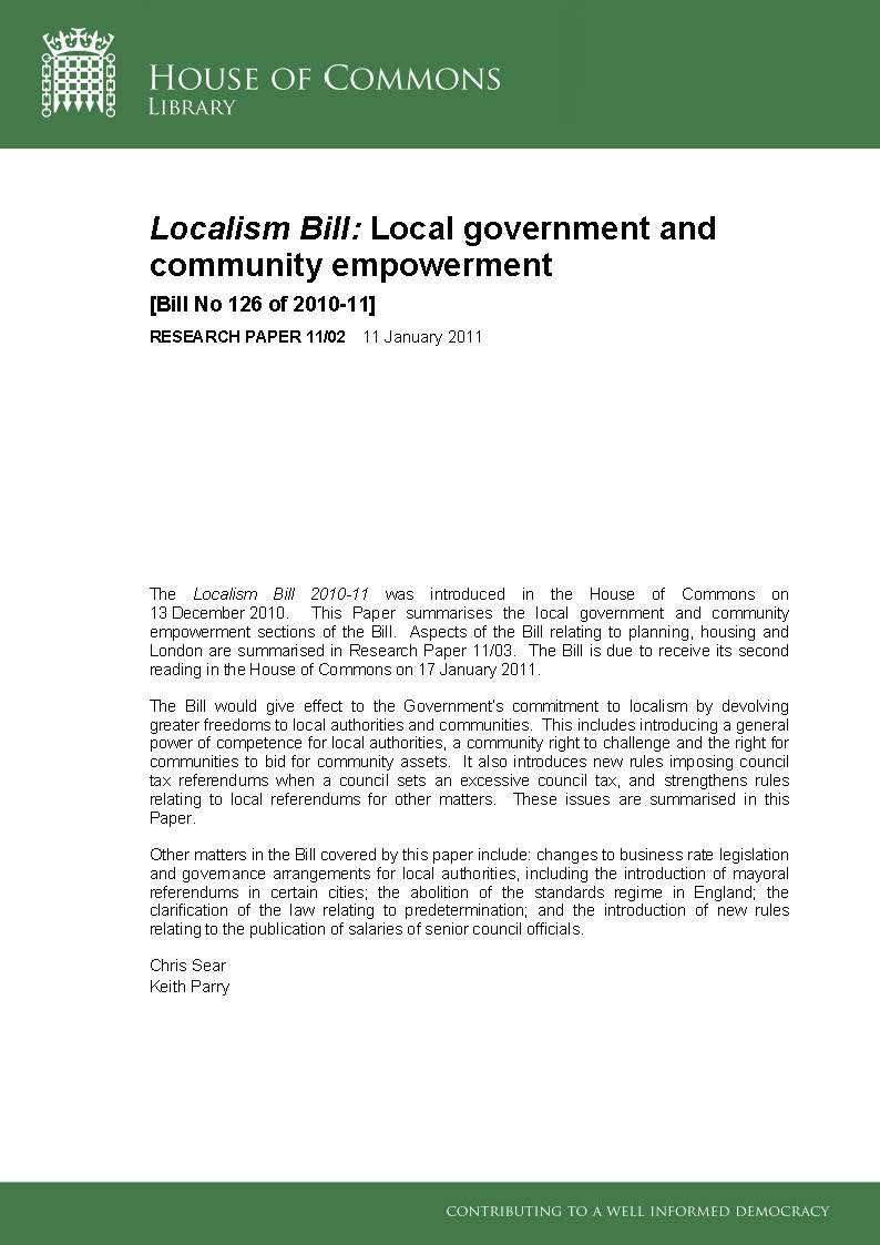 Localism Bill: Local government and community empowerment [Bill No 126 of 2010-11] RESEARCH PAPER 11/02